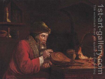 An alchemist by a stove in an interior by (after) Christopher Paudiss - Reproduction Oil Painting