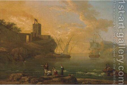 A Mediterranean coastal inlet with fisherman in the foreground by (after) Claude-Joseph Vernet - Reproduction Oil Painting