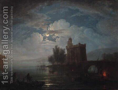Fisherfolk on the shore of a lake by moonlight, a castle beyond by (after) Claude-Joseph Vernet - Reproduction Oil Painting