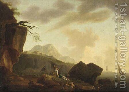 A Mediterranean coastal inlet with figures on the shore by (after) Claude-Joseph Vernet - Reproduction Oil Painting