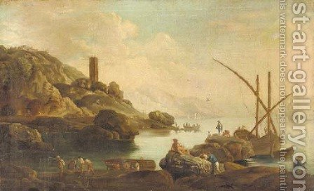 A Mediterranean coastal inlet with fisherfolk on a shoreline 2 by (after) Claude-Joseph Vernet - Reproduction Oil Painting