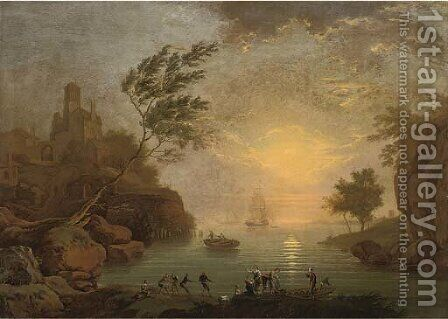 A Mediterranean coastal inlet with fishermen taking in nets, shipping beyond by (after) Claude-Joseph Vernet - Reproduction Oil Painting