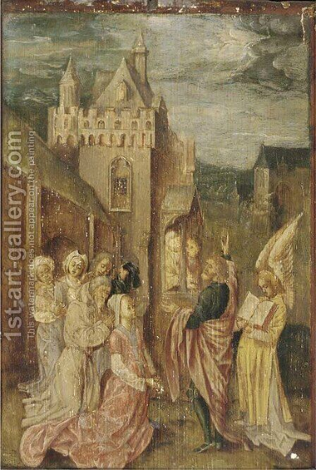 A male Saint preaching outside a manor by (after) Colijn De Coter - Reproduction Oil Painting