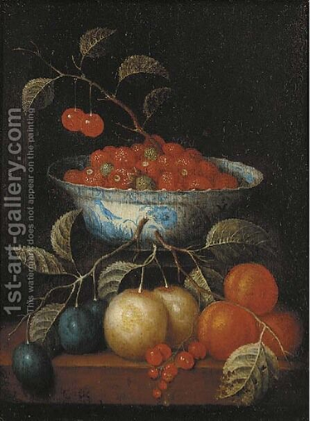 Cherries and other fruit in a 'kraak' porselein bowl by (after) Cornelis De Heem - Reproduction Oil Painting