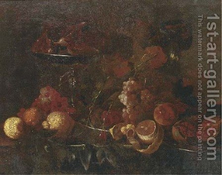 Grapes, lemons, pomegranates, an orange and other fruit on pewter platters by (after) Cornelis De Heem - Reproduction Oil Painting