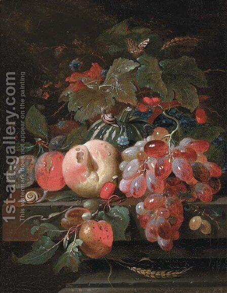 Grapes, plums, a peach, a melon and cherries on a stone ledge by (after) Cornelis De Heem - Reproduction Oil Painting