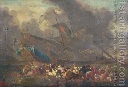 A naval battle between an Ottoman and a Christian fleet by (after) Cornelis De Wael - Reproduction Oil Painting