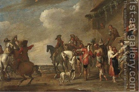 Cavalrymen at halt by an inn by (after) Cornelis De Wael - Reproduction Oil Painting