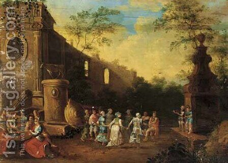 Merrymaking by the ruins by (after) Cornelis Van Poelenburch - Reproduction Oil Painting