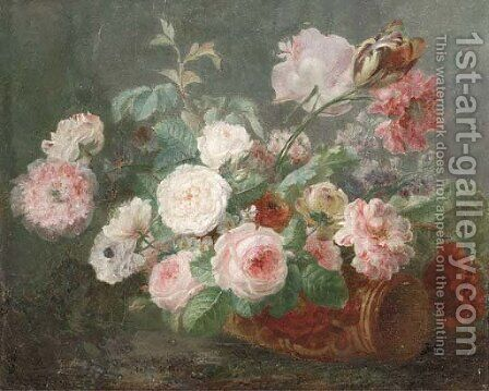 Still life of pink and white roses, carnations and tulips by (after) Cornelis Van Spaendonck - Reproduction Oil Painting