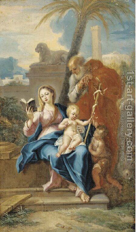 The Holy Family with the Infant Saint John the Baptist by (after) Corrado Giaquinto - Reproduction Oil Painting