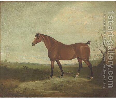 A horse in  a landscape by (after) Daniel Clowes - Reproduction Oil Painting