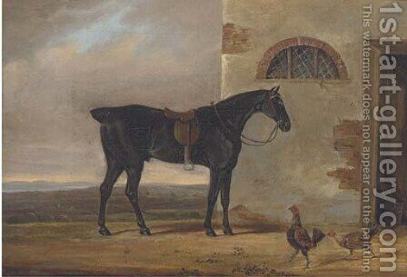A saddled hunter before a stable by (after) Daniel Clowes - Reproduction Oil Painting