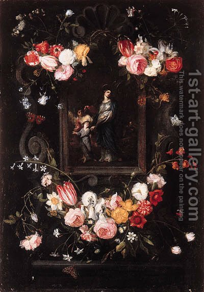 Garlands of flowers surrounding a picture of the Return from Egypt in a stone cartouche by (after) Erasmus II Quellin (Quellinus) - Reproduction Oil Painting