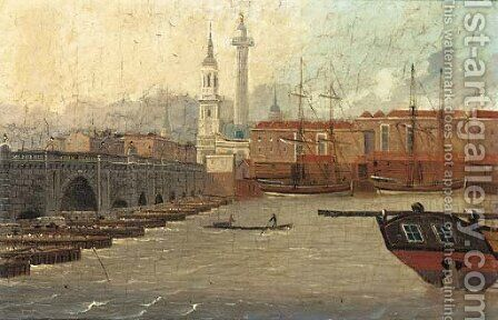 A view of the Thames at New London Bridge, St. Magnus The Martyr and The Monument beyond by (after) Daniel Turner - Reproduction Oil Painting