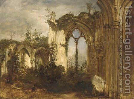 An abbey ruin by (after) David Roberts - Reproduction Oil Painting