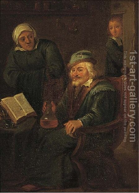 A doctor with an elderly patient by (after) David Ryckaert III - Reproduction Oil Painting