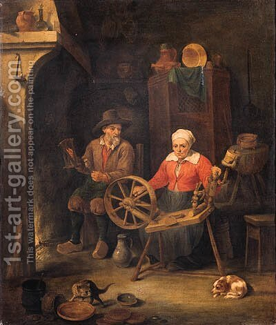 A peasant couple at a spinning wheel by a fire in a barn by (after) David Ryckaert III - Reproduction Oil Painting