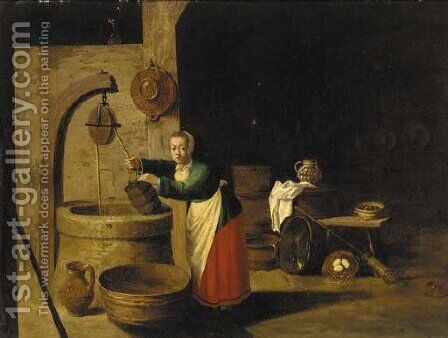 A barn interior with a woman at a well by (after) David The Younger Teniers - Reproduction Oil Painting