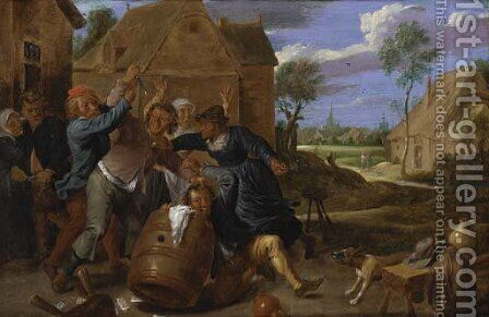 A brawl outside a tavern by (after) David The Younger Teniers - Reproduction Oil Painting