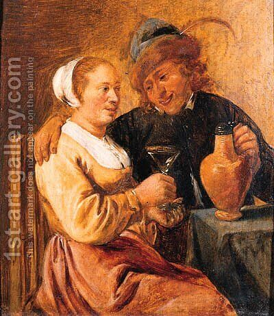 A couple seated at a table by (after) David The Younger Teniers - Reproduction Oil Painting