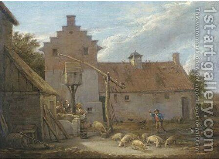 A farmyard with pigs and ducks by a pool, with peasants at a nearby well by (after) David The Younger Teniers - Reproduction Oil Painting