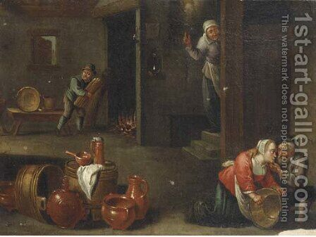 A peasant couple in an interior, with kitchen utensils in the lower foreground by (after) David The Younger Teniers - Reproduction Oil Painting