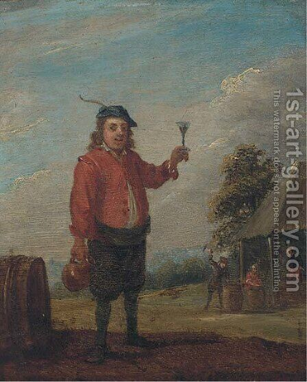A peasant holding a jug and a roemer of wine near an inn by (after) David The Younger Teniers - Reproduction Oil Painting