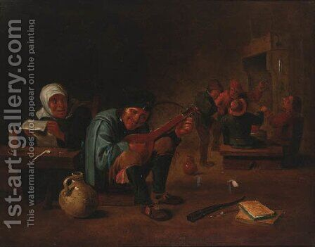 A peasant playing a lute in a tavern interior by (after) David The Younger Teniers - Reproduction Oil Painting