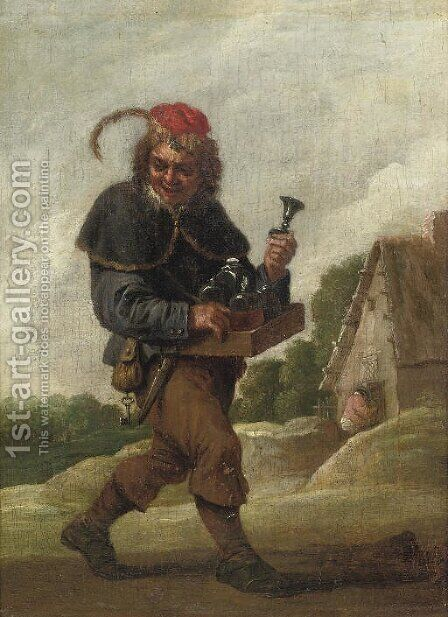 A pedlar on a track by (after) David The Younger Teniers - Reproduction Oil Painting
