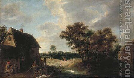A wooded village landscape with a peasant resting outside a farmhouse by (after) David The Younger Teniers - Reproduction Oil Painting