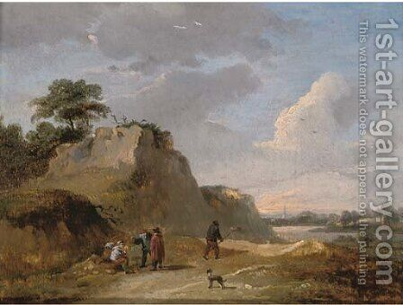 An extensive dune landscape with travellers resting on a track by (after) David The Younger Teniers - Reproduction Oil Painting