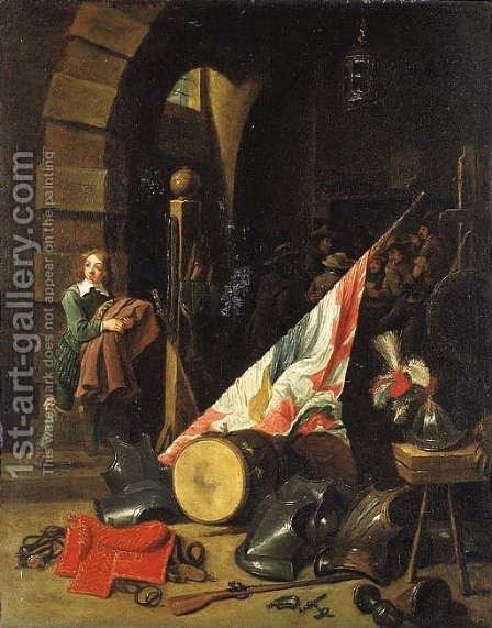 Armour, a saddle, a drum, a banner, a plumed helmet on a bench and other objects in a guardroom by (after) David The Younger Teniers - Reproduction Oil Painting