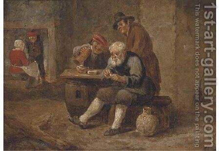 Boors smoking and drinking in an inn by (after) David The Younger Teniers - Reproduction Oil Painting