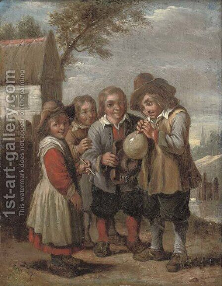 Children blowing a bladder by (after) David The Younger Teniers - Reproduction Oil Painting