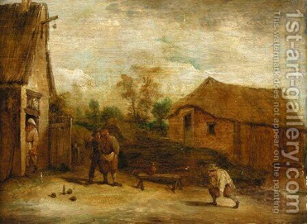 Figures playing skittles before a cottage by (after) David The Younger Teniers - Reproduction Oil Painting