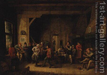 Peasants dancing in a Tavern Interior by (after) David The Younger Teniers - Reproduction Oil Painting