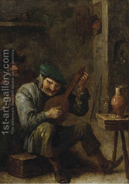 Peasants making music in an interior, with a roemer of wine on a stool by (after) David The Younger Teniers - Reproduction Oil Painting