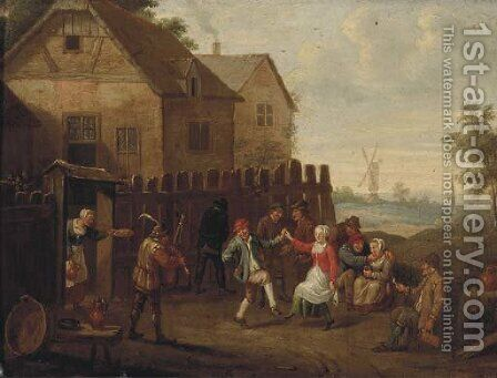 Peasants merrymaking and dancing by an inn by (after) David The Younger Teniers - Reproduction Oil Painting