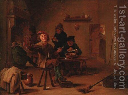 Peasants merrymaking in a tavern interior by (after) David The Younger Teniers - Reproduction Oil Painting