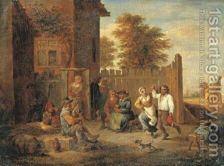 Peasants merrymaking outside an inn by (after) David The Younger Teniers - Reproduction Oil Painting
