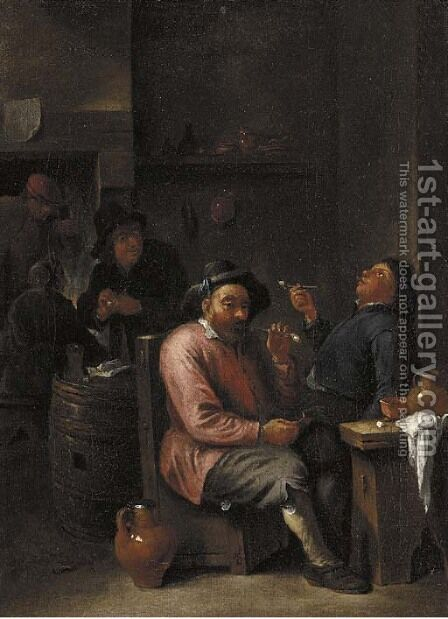 Peasants smoking and drinking in an inn by (after) David The Younger Teniers - Reproduction Oil Painting