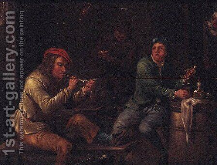 Peasants Smoking In A Tavern Interior by (after) David The Younger Teniers - Reproduction Oil Painting