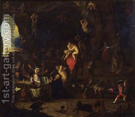 The Temptation of Saint Anthony 2 by (after) David The Younger Teniers - Reproduction Oil Painting