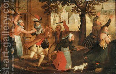 An innkeeper and his wife driving out a family by (after) David Vinckboons - Reproduction Oil Painting