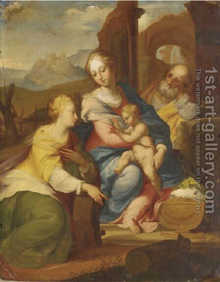 The Holy Family with Saint Catherine of Alexandria by (after) Denys Calvaert - Reproduction Oil Painting