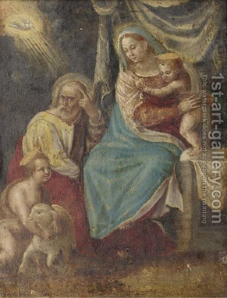 The Holy Family with the Infant Saint John the Baptist 2 by (after) Denys Calvaert - Reproduction Oil Painting
