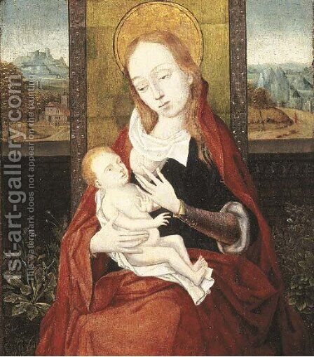 The Virgin and Child, a landscape beyond by (after) Dieric The Elder Bouts - Reproduction Oil Painting