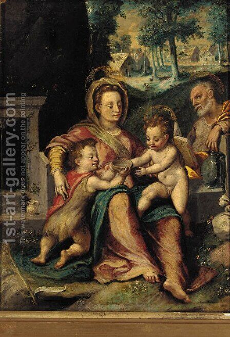 The Holy Family with the infant St. John The Baptist by (after) Denys Calvaert - Reproduction Oil Painting