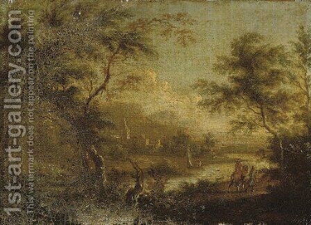 A wooded river landscape with travellers on a track, a village beyond by (after) Dirck Dalens II - Reproduction Oil Painting